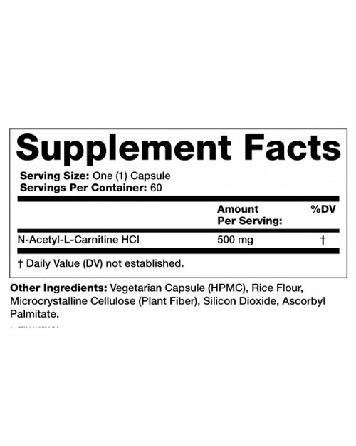 Supplement Facts for Olympian Labs Acetyl L-Carnitine  500 mg 60 Capsules