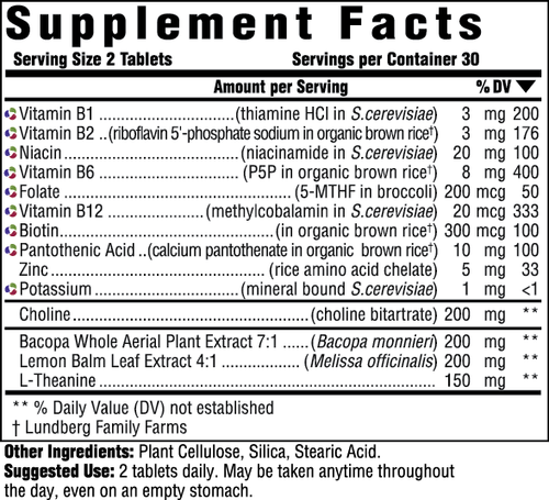 Supplement Facts for MegaFood Adult B-Centered  90 Tablets
