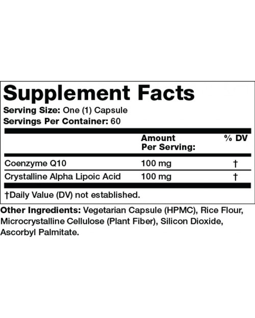 Supplement Facts for Olympian Labs Alpha Lipoic Coenzyme Q10  200 mg 60 Capsules