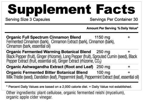 Supplement Facts for Ancient Nutrition Apothecary Cinnamon  90 Capsules