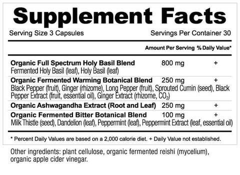 Supplement Facts for Ancient Nutrition Apothecary Holy Basil  90 Capsules