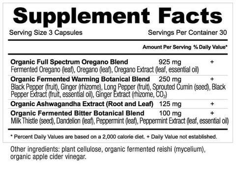Supplement Facts for Ancient Nutrition Apothecary Oregano  90 Capsules