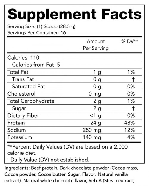 Supplement Facts for Olympian Labs Beef Protein  456 grams Chocolate Flavor