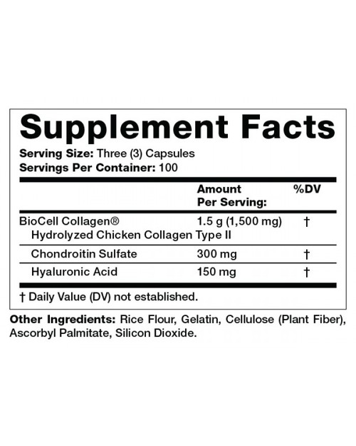 Supplement Facts for Olympian Labs BioCell Collagen II  1500 mg 300 Capsules