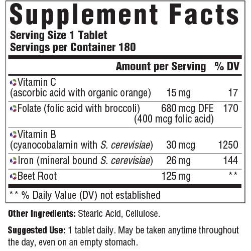 Supplement Facts for MegaFood Blood Builder  180 Tablets
