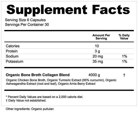 Supplement Facts for Ancient Nutrition Bone Broth Collagen Organic 180 Capsules
