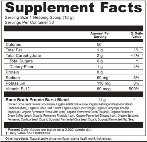Supplement Facts for Ancient Nutrition Bone Broth Protein Burst  Apple Greens 30 Servings