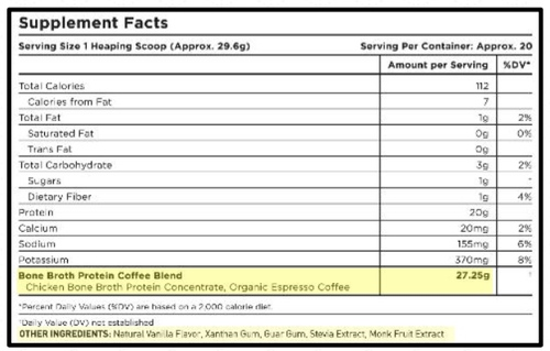 Supplement Facts for Ancient Nutrition Bone Broth Protein Coffee 20 Servings
