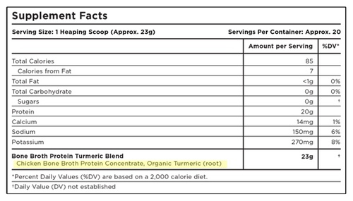 Supplement Facts for Ancient Nutrition Bone Broth Protein Turmeric Single Serving Pack