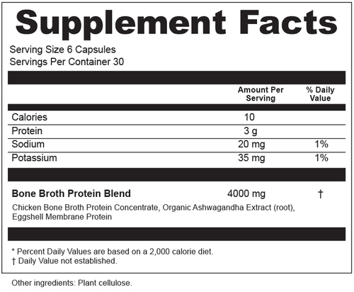 Supplement Facts for Ancient Nutrition Bone Broth Protein  180 Capsules
