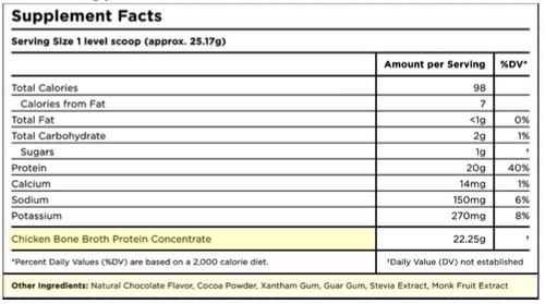 Supplement Facts for Ancient Nutrition Bone Broth Protein Chocolate 40 Servings