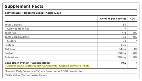 Supplement Facts for Ancient Nutrition Bone Broth Protein Turmeric 40 Servings