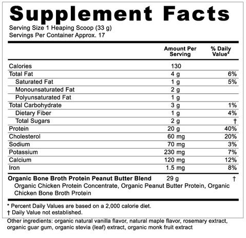 Supplement Facts for Ancient Nutrition Bone Broth Protein Peanut Butter Organic 17 Servings