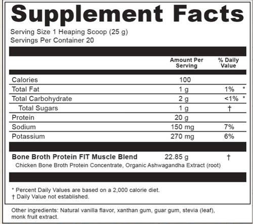 Supplement Facts for Ancient Nutrition Bone Broth Protein FIT Muscle Booster  20 Servings