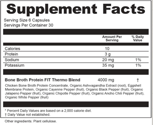 Supplement Facts for Ancient Nutrition Bone Broth Protein FIT Thermo Burner  180 Capsules