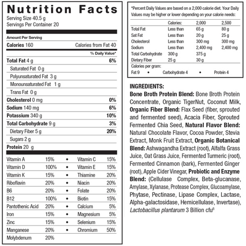 Supplement Facts for Ancient Nutrition Bone Broth Protein Meal  Chocolate Creme 20 Servings