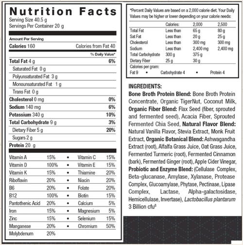 Supplement Facts for Ancient Nutrition Bone Broth Protein Meal  Vanilla Creme 20 Servings