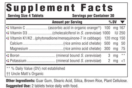 Supplement Facts for MegaFood Bone Health  120 Tablets