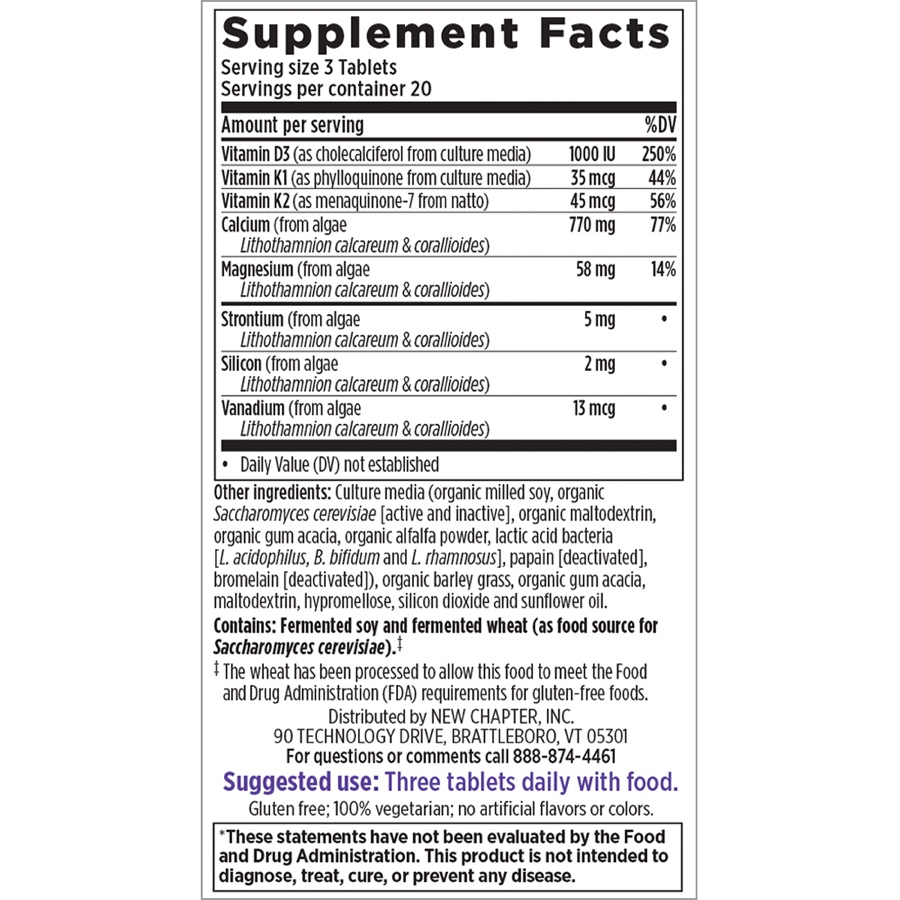 Supplement Facts for New Chapter Bone Strength Take Care  60 Slim Tablets