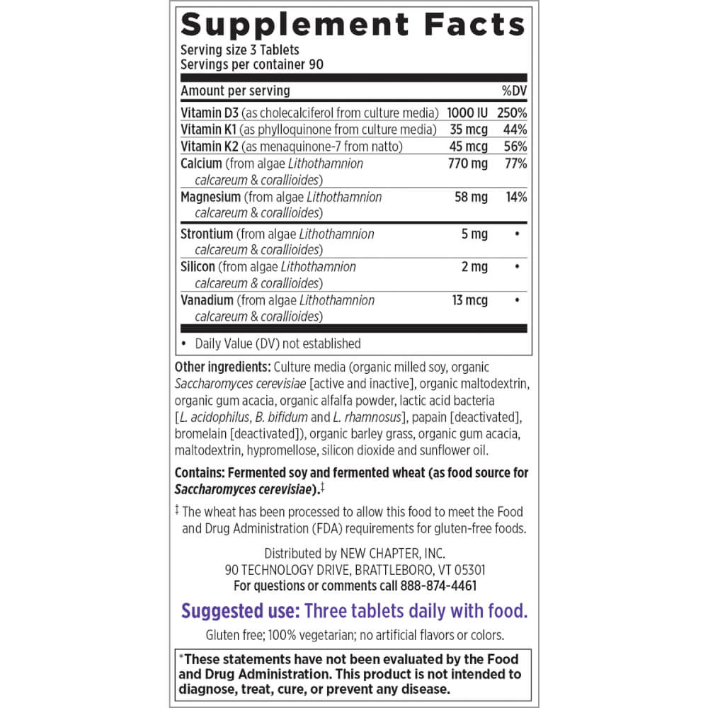 Supplement Facts for New Chapter Bone Strength Take Care  270 Slim Tablets