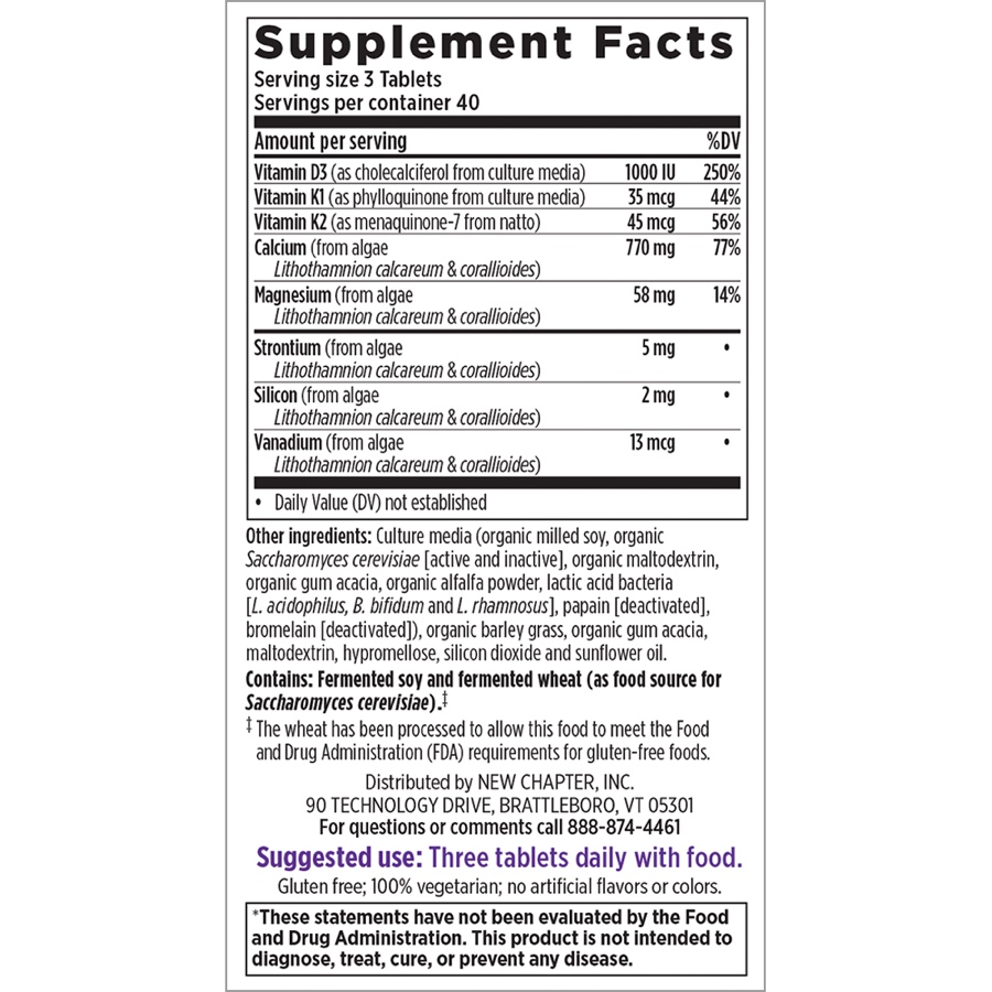 Supplement Facts for New Chapter Bone Strength Take Care  120 Slim Tablets