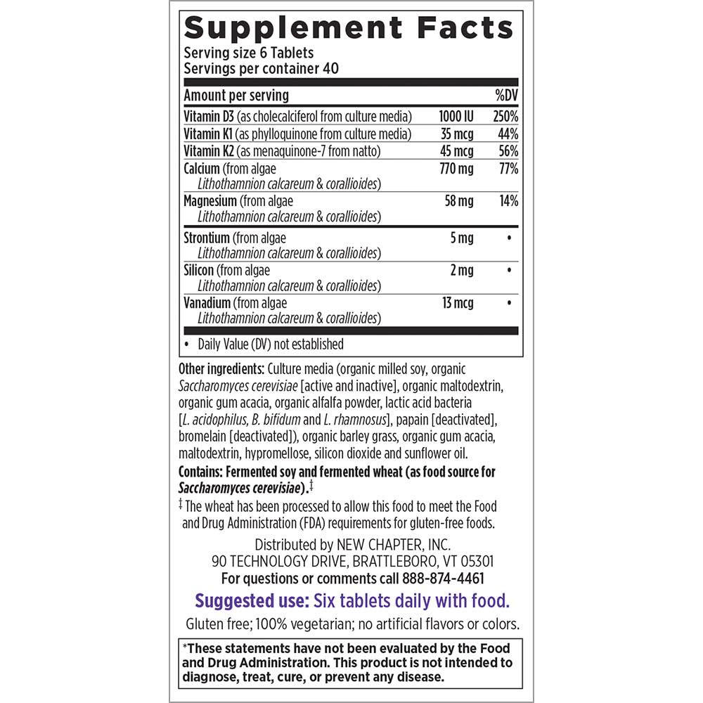 Supplement Facts for New Chapter Bone Strength Take Care  240 Tiny Tabs