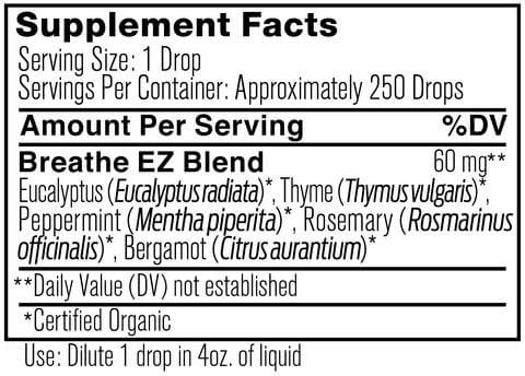 Supplement Facts for Ancient Nutrition Breathe EZ Organic 15 ML Essential Oil
