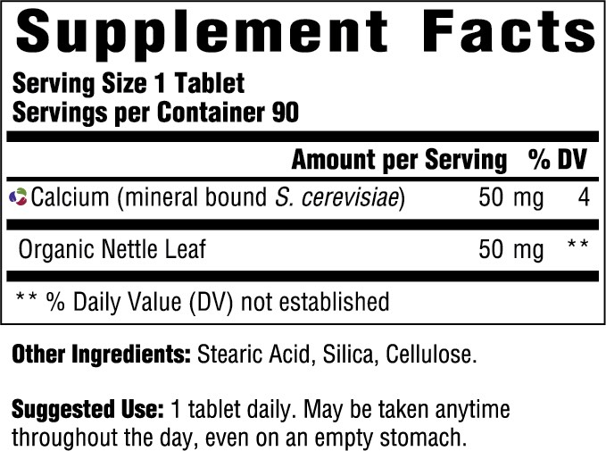 Supplement Facts for MegaFood Calcium  90 Tablets