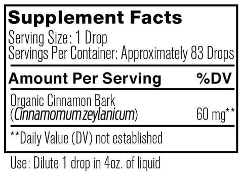 Supplement Facts for Ancient Nutrition Cinnamon Organic 5 ML Essential Oil