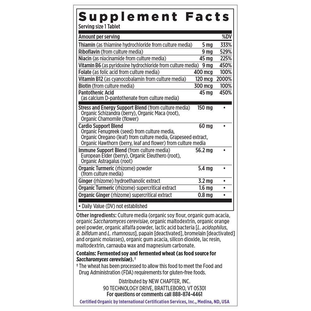 Supplement Facts for New Chapter Coenzyme B Food Complex One Daily  90 Tablets