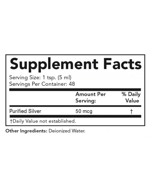 Supplement Facts for Olympian Labs Colloidal Silver  8 oz