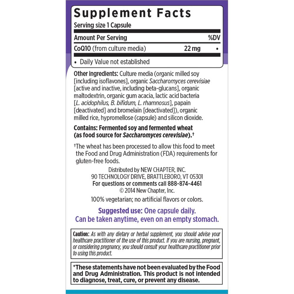 Supplement Facts for New Chapter CoQ10 Food Complex  60 Capsules