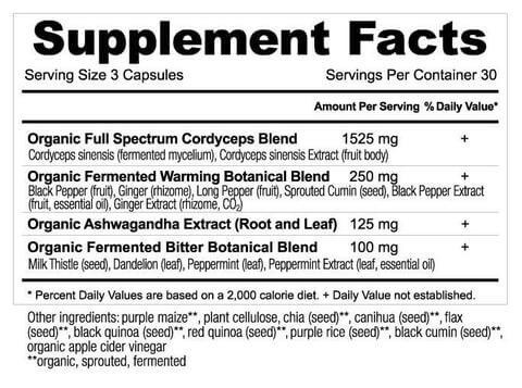 Supplement Facts for Ancient Nutrition Cordyceps  90 Capsules