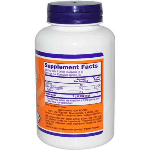 Supplement Facts for Now D-Mannose for Bladder Health  3 oz Bottle