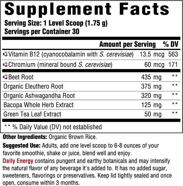 Supplement Facts for MegaFood Daily Energy  30 Day Nutrient Booster Pow