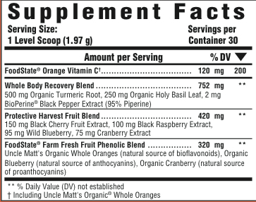 Supplement Facts for MegaFood Daily Turmeric  30 Day Nutrient Booster Pow