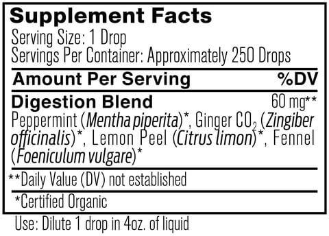 Supplement Facts for Ancient Nutrition Digestion Organic 15 ML Essential Oil