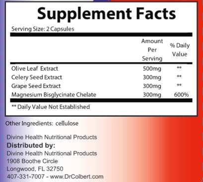 Supplement Facts for Dr Colbert Divine Health Blood Pressure Support  60 Capsules