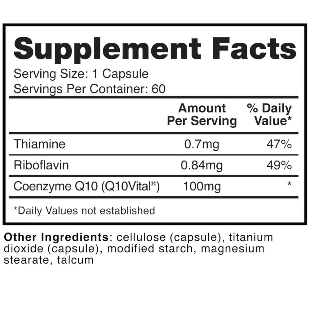 Supplement Facts for Dr Colbert Divine Health CoQ10 Vital Ubiquinone  100 mg 60 Capsules