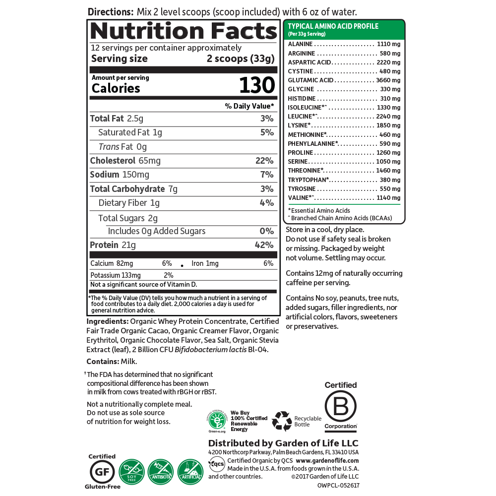 Supplement Facts for Garden of Life Organic Whey Protein Chocolate 397 gram Grass Fed