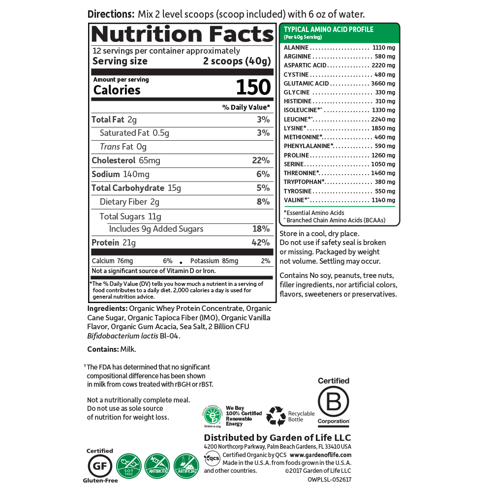 Supplement Facts for Garden of Life Organic Whey Protein Lightly Sweet 480 gram Grass Fed