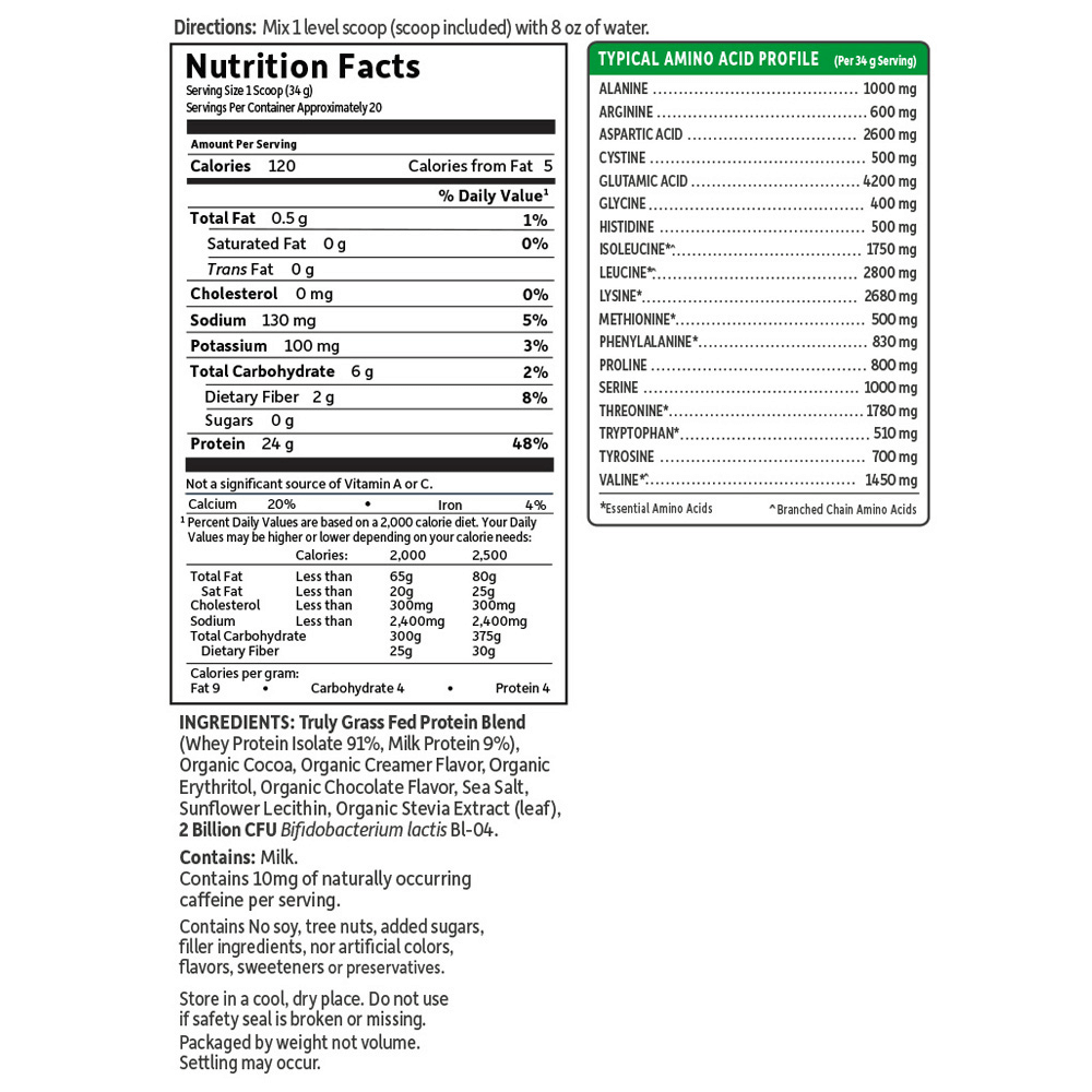 Supplement Facts for Garden of Life SPORT Certified Grass Fed Whey Chocolate 672 gm Powder