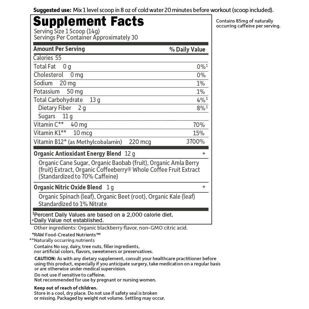 Supplement Facts for Garden of Life SPORT Organic Plant-Based Energy Focus  Blackberry Lemonade 12 Single Serv Packs