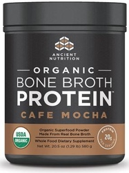 Ancient Nutrition Bone Broth Protein Cafe Mocha Organic 17 Servings