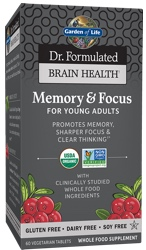 Garden of Life Dr Formulated Brain Health Memory and Focus for Young Adults  60 Tablets