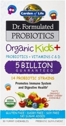 Garden of Life Dr Formulated Probiotics Organic Kids Plus 5 Billion Organic Berry Cherry Shelf Stable 30 Chewables