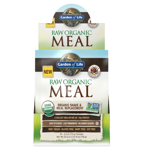 Garden of Life Raw Organic Meal Chocolate Cacao Box of 10 Single Serv. Packs