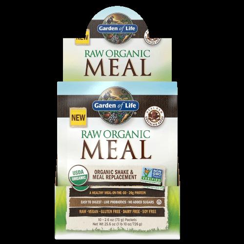 Garden of Life Raw Organic Meal Chocolate Cacao Box of 10 Single Serv. Packs