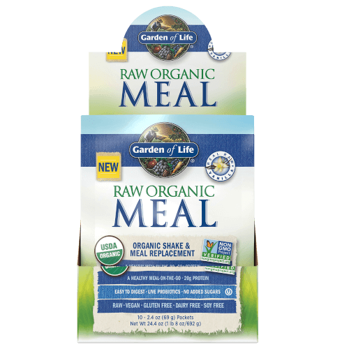 Garden of Life Raw Organic Meal Vanilla Box of 10 Single Serv. Packs