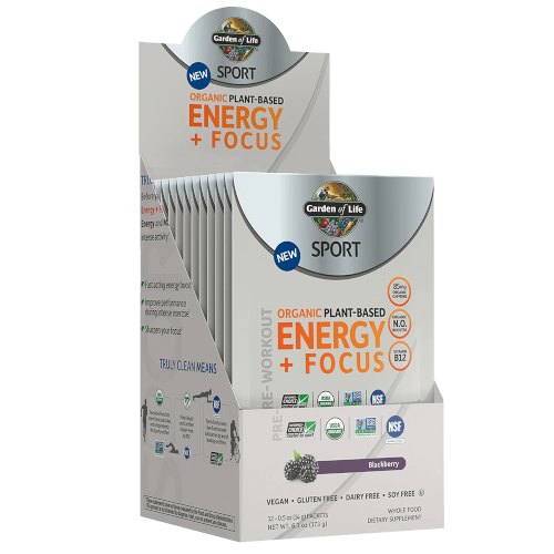 Garden of Life SPORT Organic Plant-Based Energy Focus  Blackberry Lemonade 12 Single Serv Packs